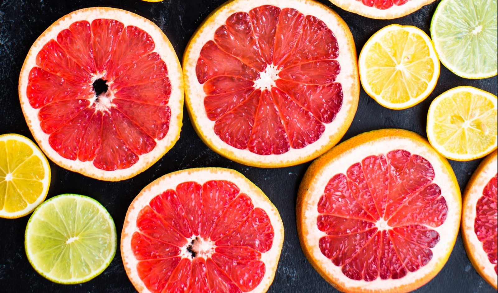 sliced citrus fruit, lemon, lime, blood orange