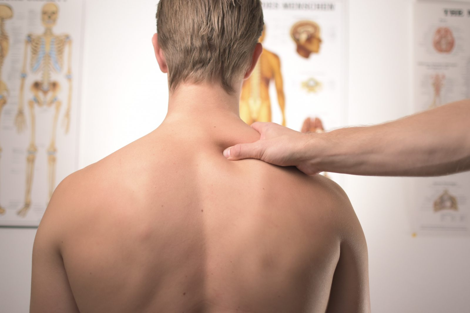 a shirtless blonde man with his back being massaged
